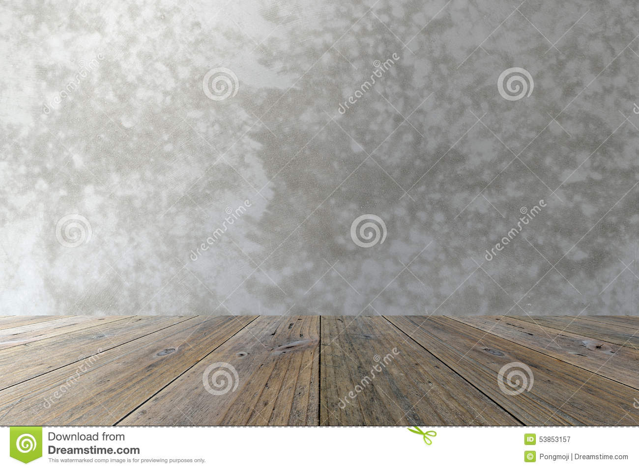 Wood Terrace And Polished Bare Concrete Stock Photo