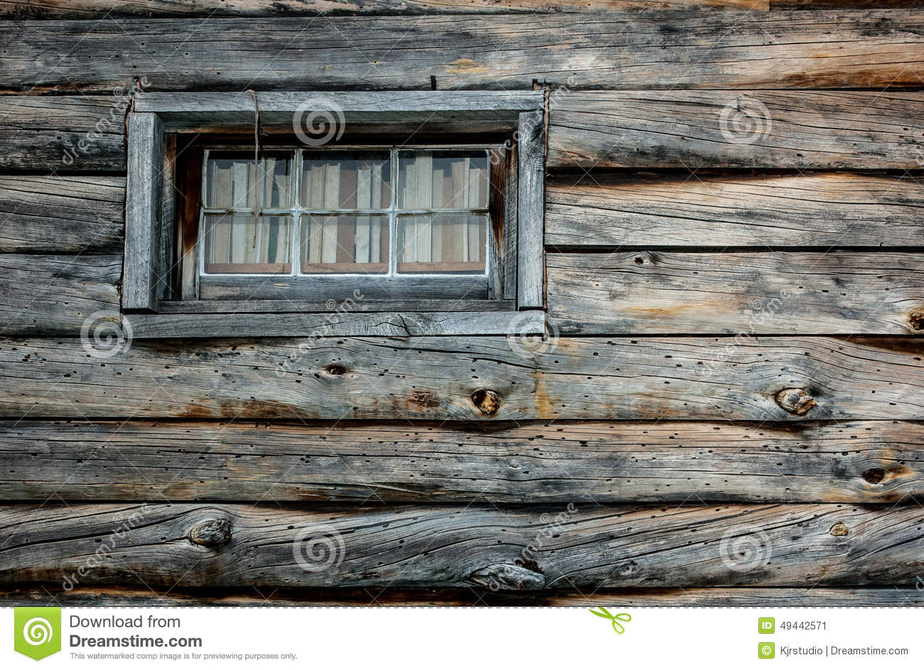 Wood Texture Log Cabin Window Stock Photo Image 49442571