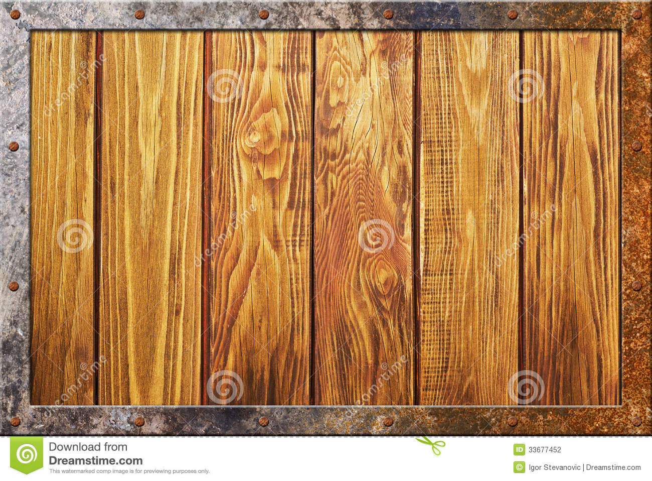 Wood Texture With Metal Frame Stock Photography Image 33677452