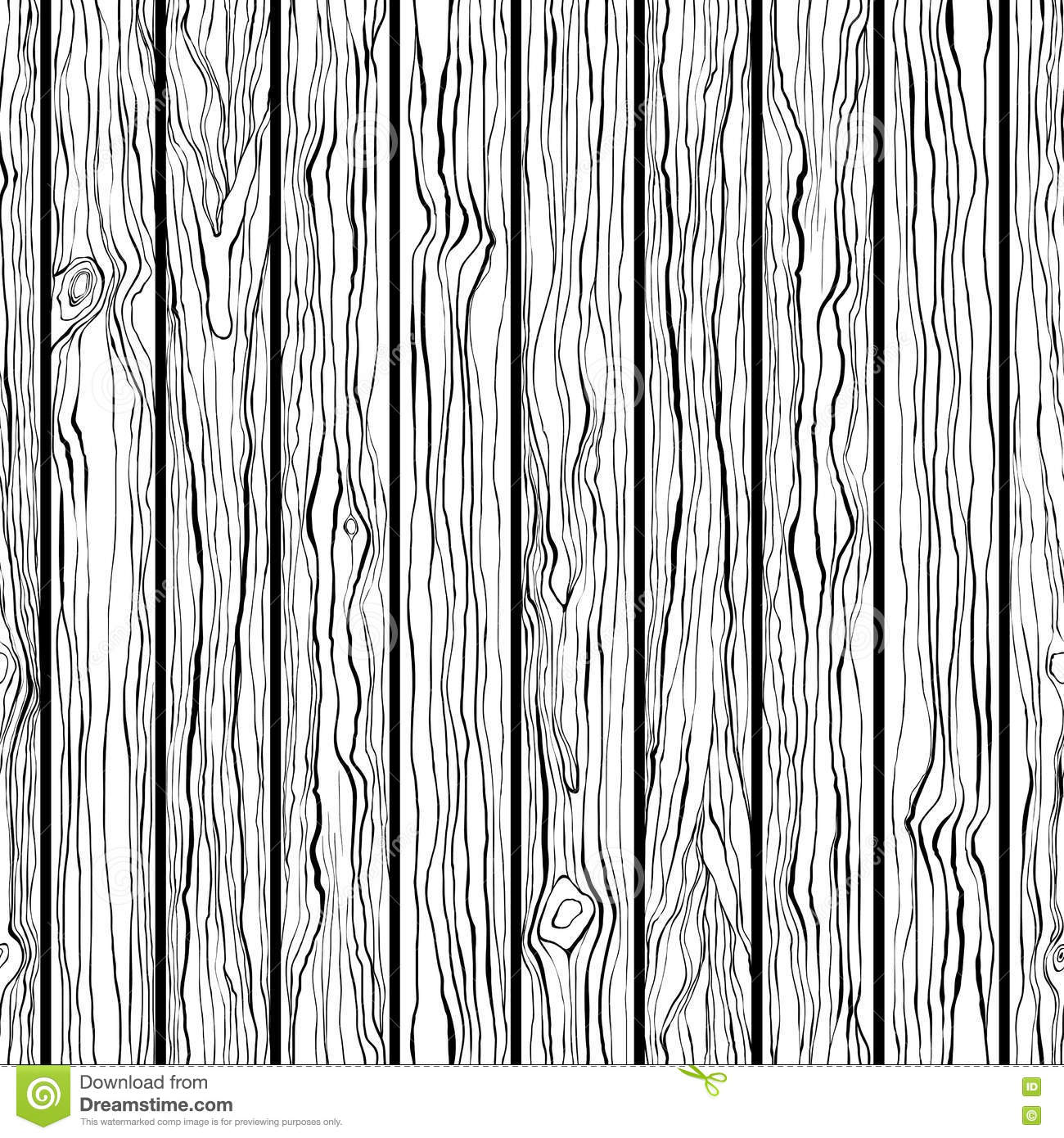 Wood Texture Seamless Pattern Black And White Hand Draw Stock