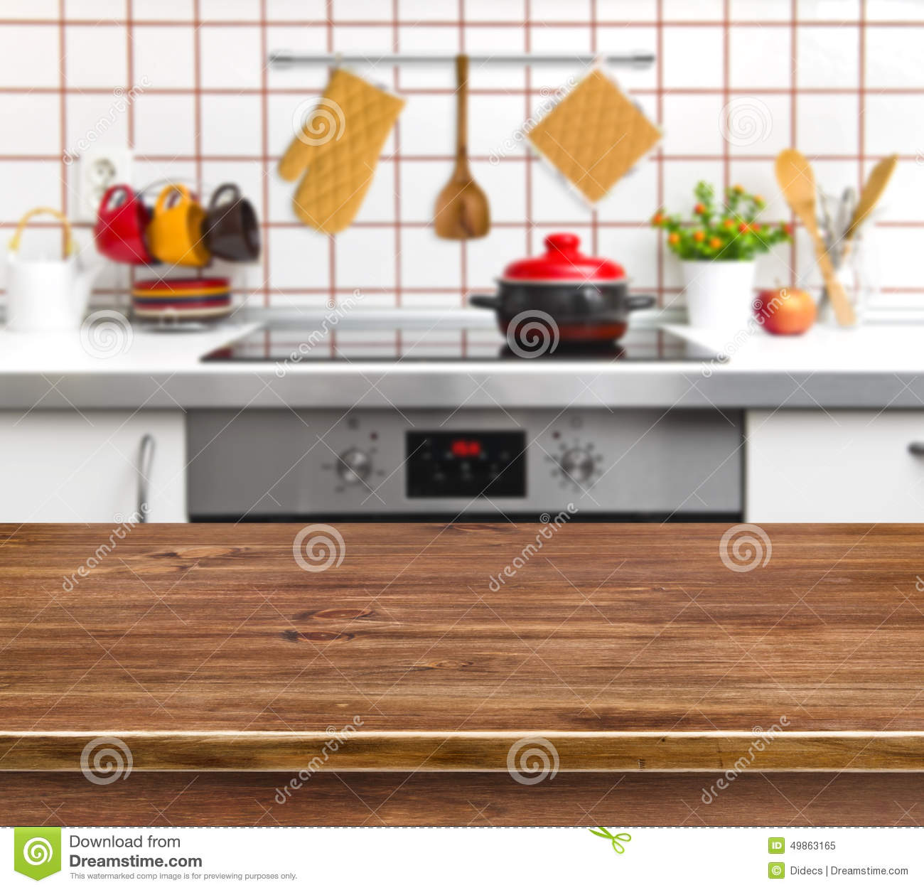 Kitchen Background Image: Wood Texture Table On Kitchen Bench Background Stock Photo