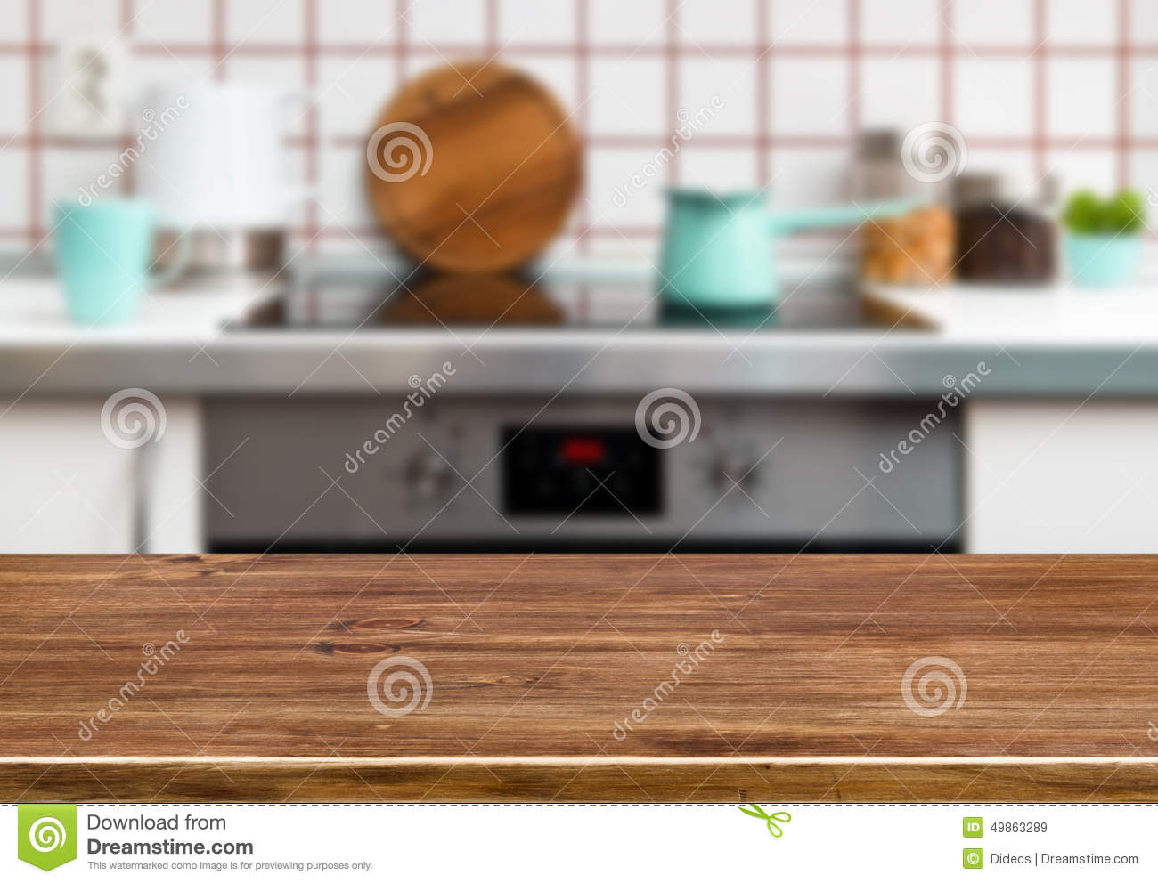 Wood Texture Table On Kitchen Stove Bench Background Stock