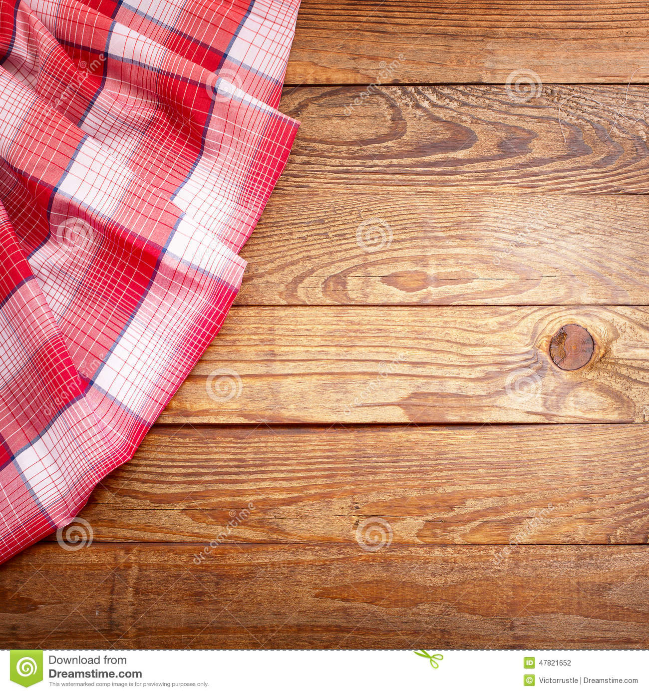 Wood Texture Wooden Table With Red Tablecloth Tartan Top