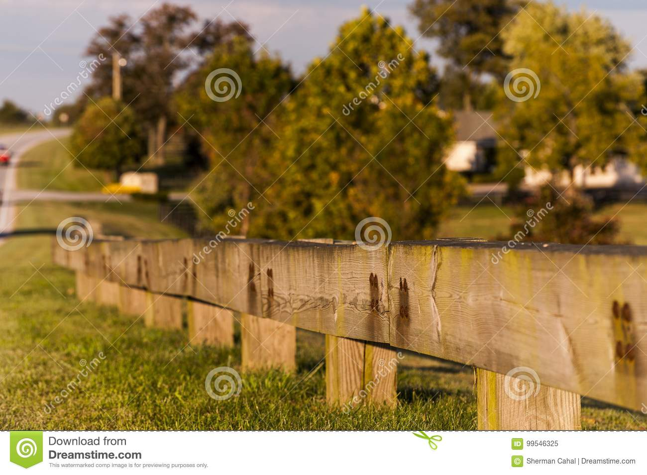 Timber Guardrail Along Highway - Paris Pike, Central