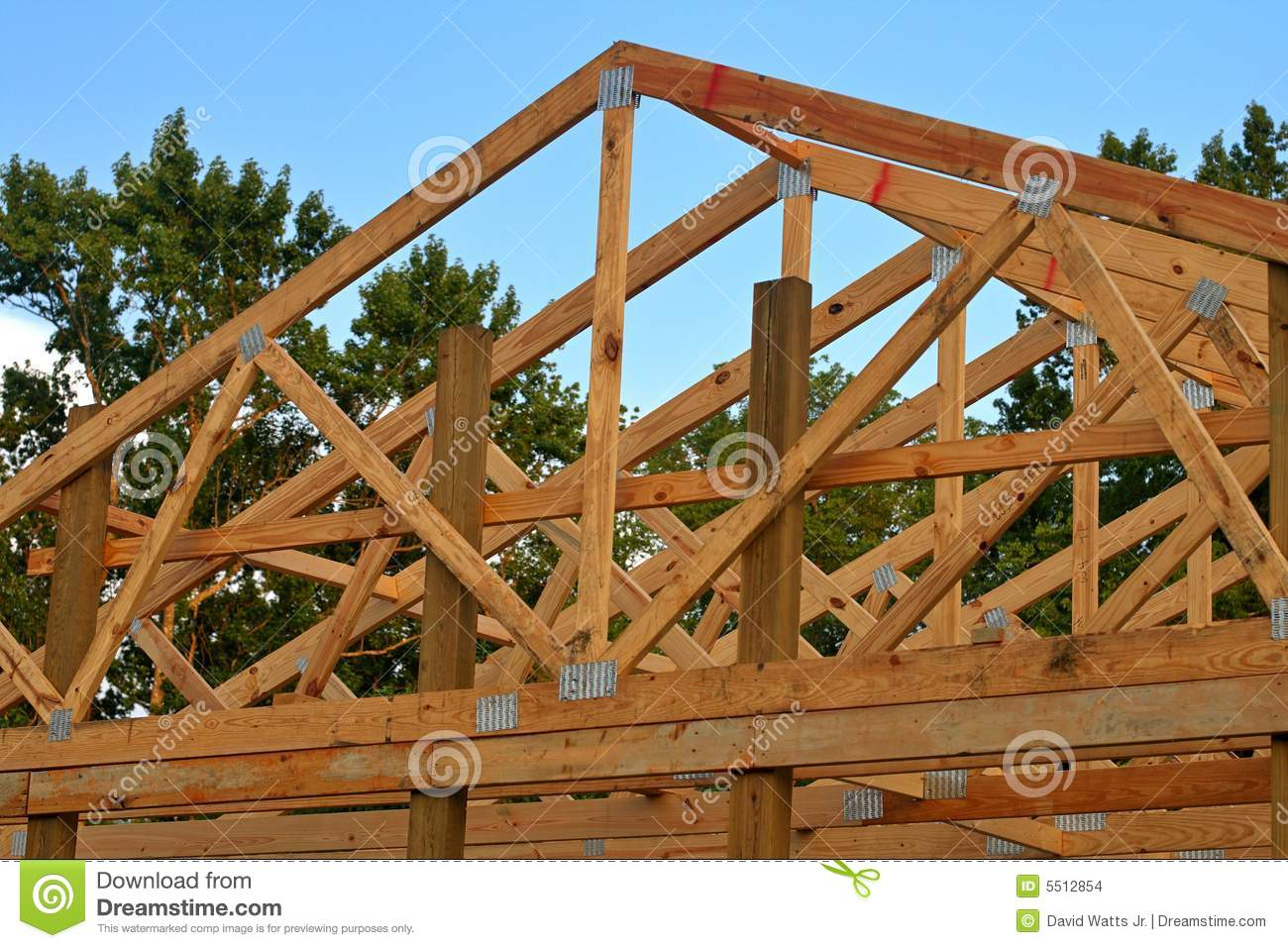 Wood Trusses Stock Photo Image Of Construction Truss