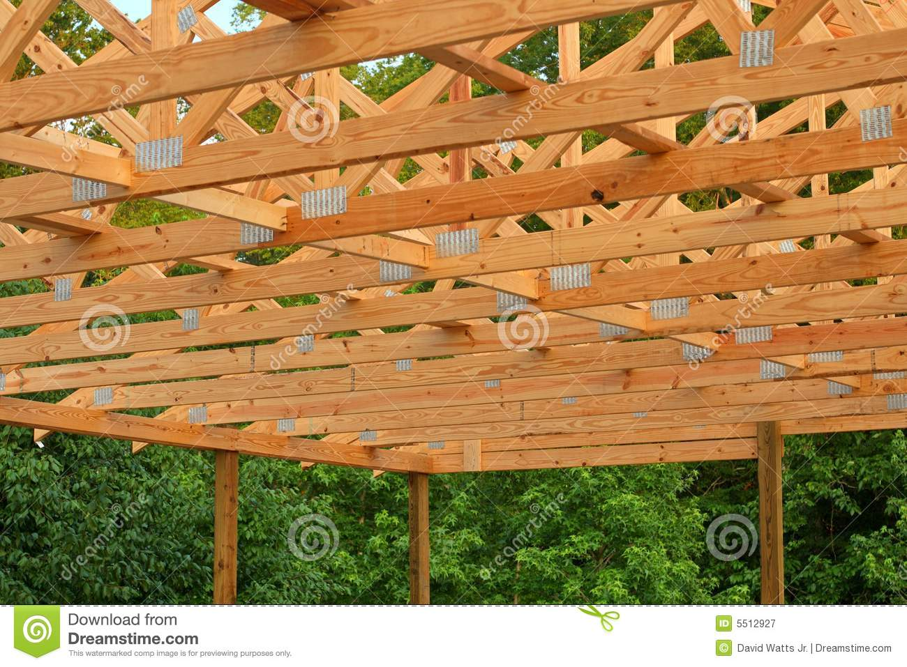 Wood trusses stock image image of builder trusses attic for Wood roof trusses prices