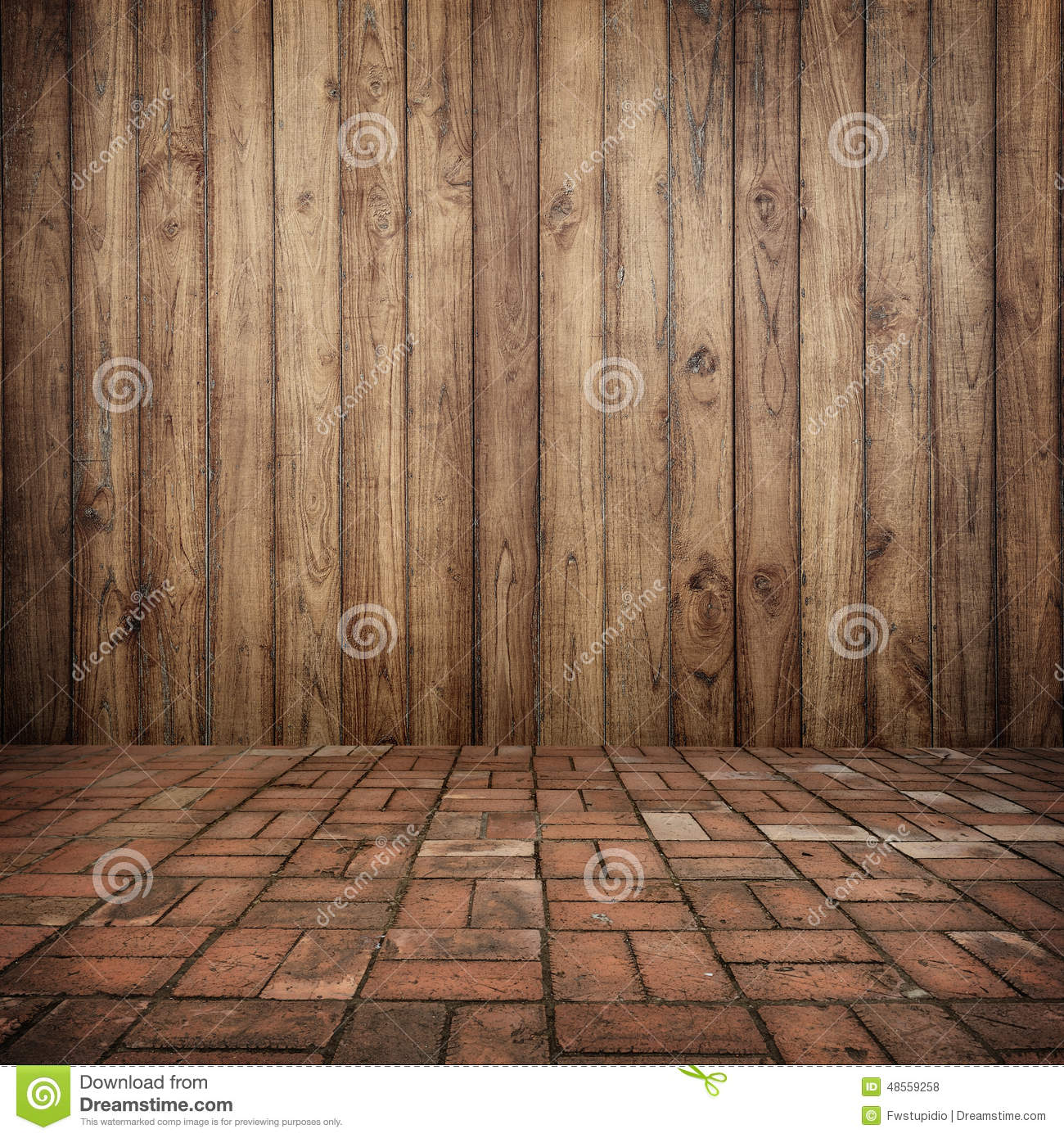 Wood on wall and brick floor for your home and for for Wallpaper of home wall