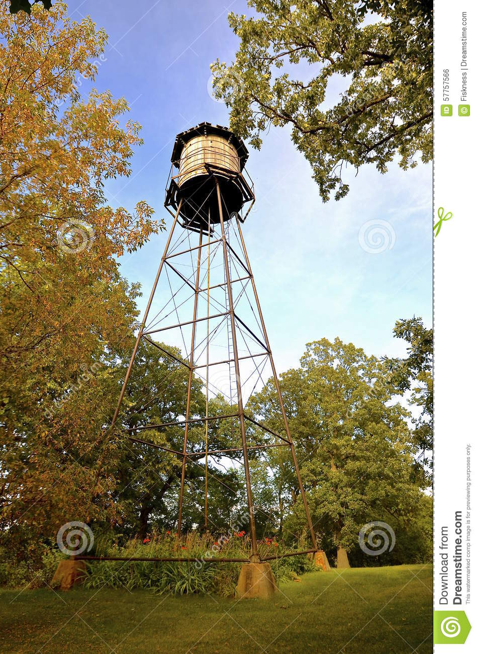 Wooden Plank Ladder Devils Tower ~ Wood water tower in backyard stock photo image