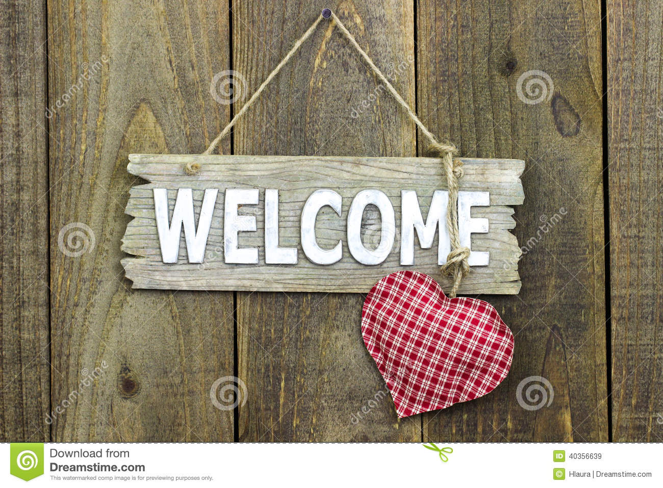 Wood Welcome Sign With Red Heart Hanging On Rustic Wooden