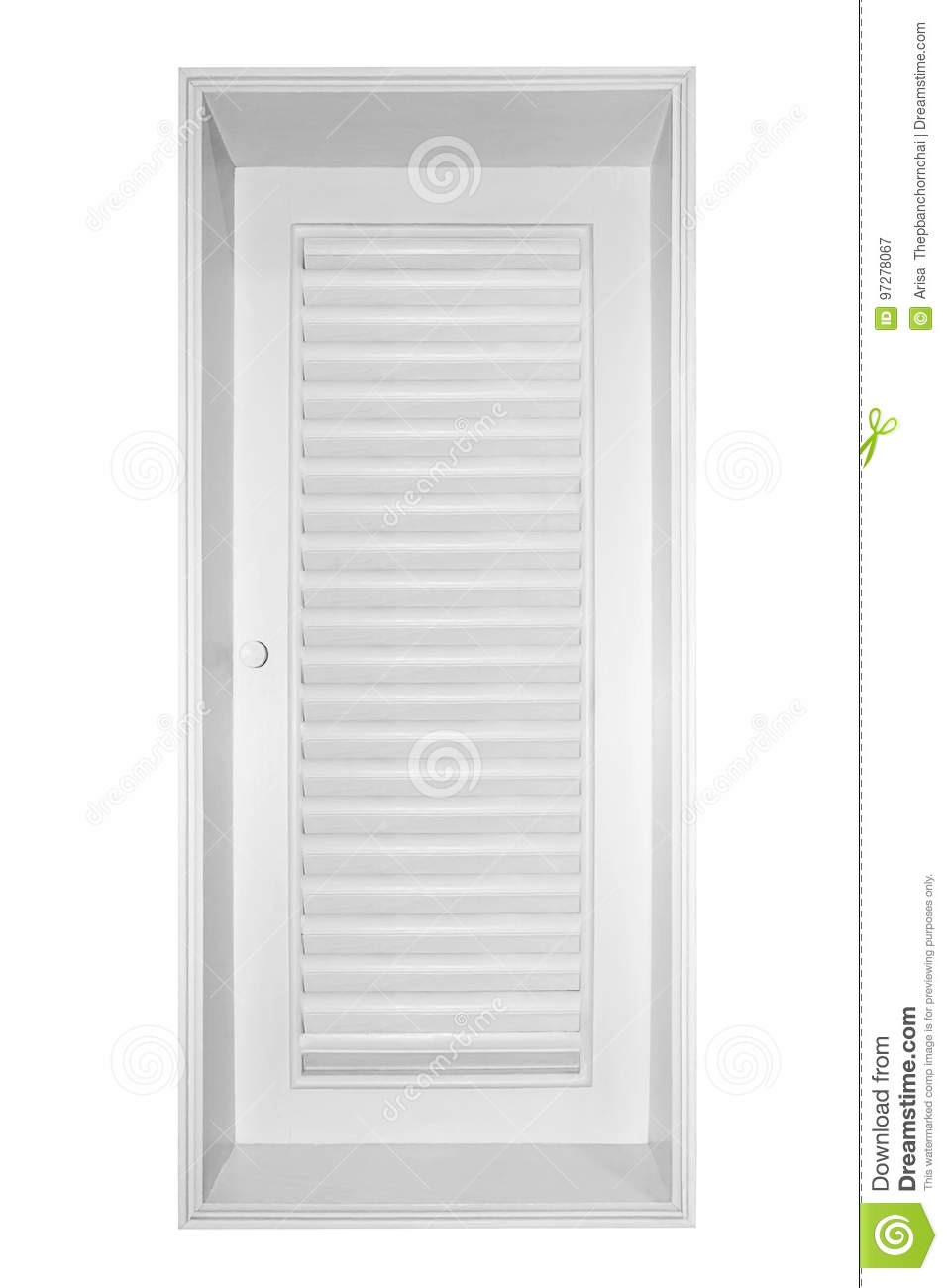 Wood Window Shutter White Isolated On White Background