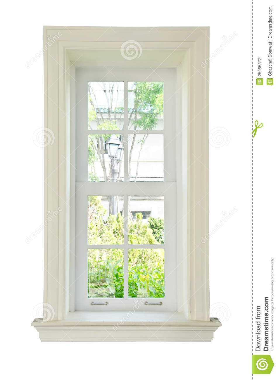 Wood window white frame stock photo. Image of glazed - 25065372