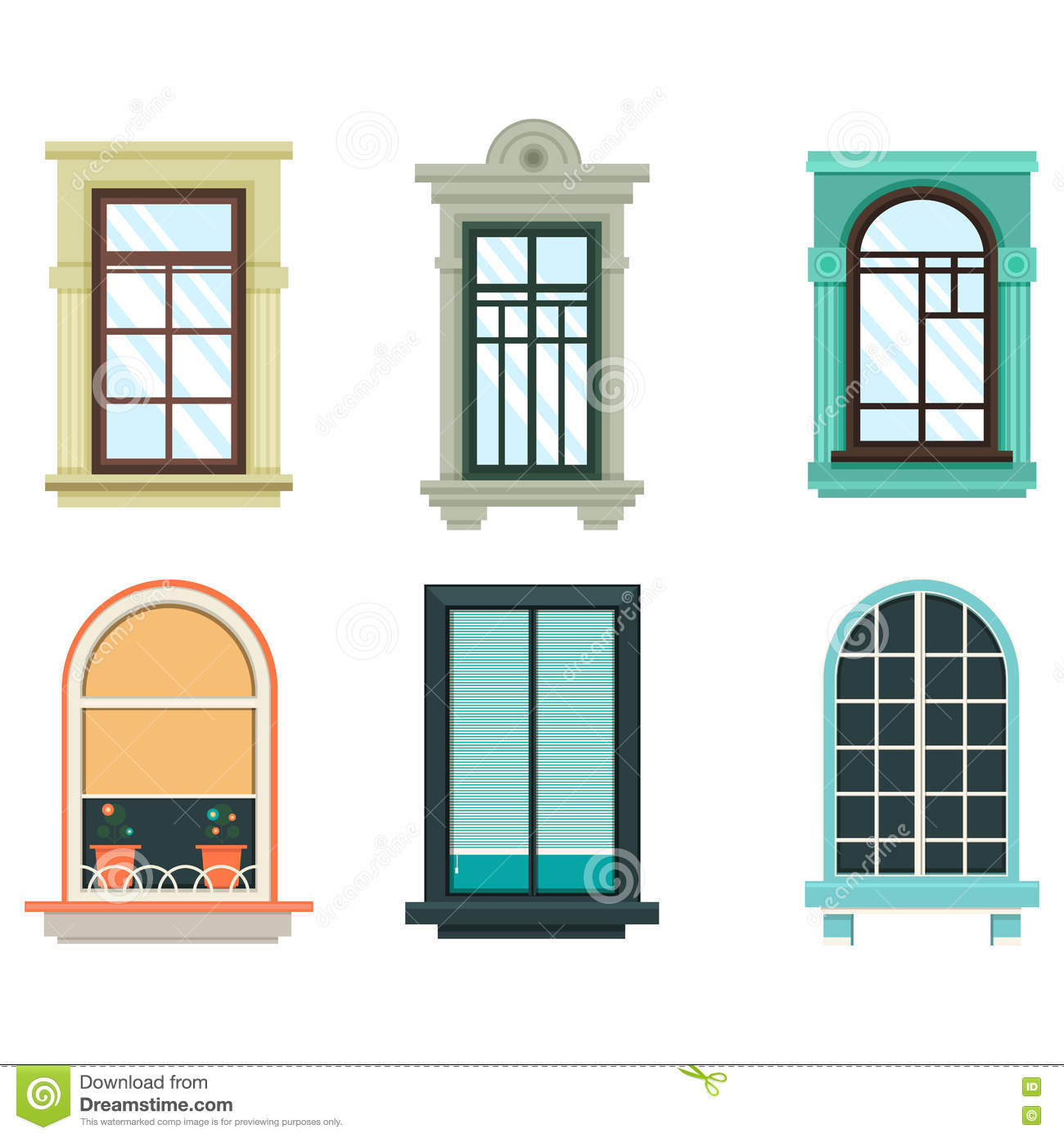 Wood Windows Frames Isolated Set Exterior View Stock Vector ...