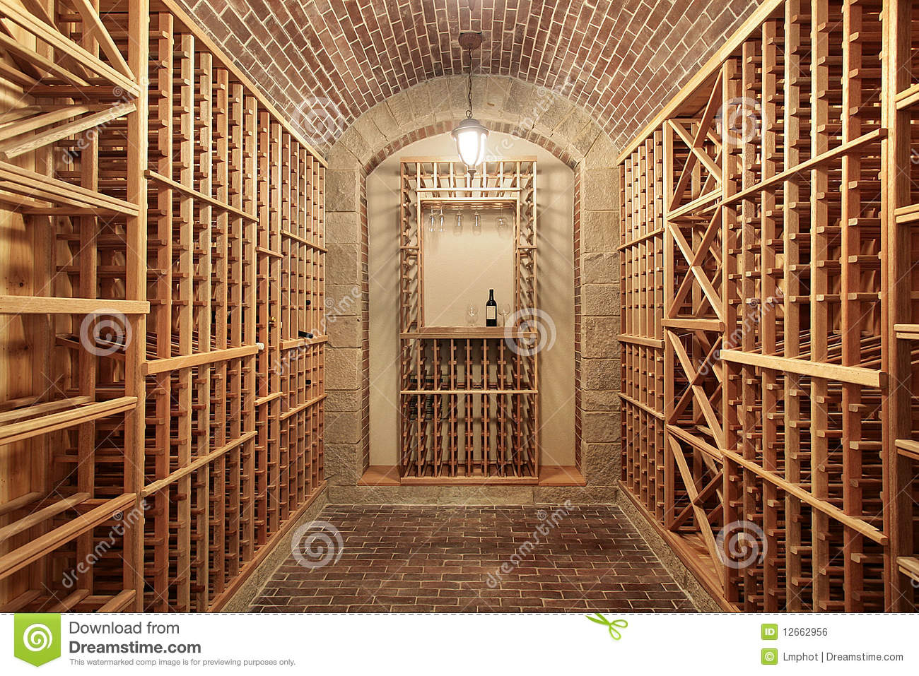 Wood Wine Cellar With Brick Ceiling Royalty Free Stock