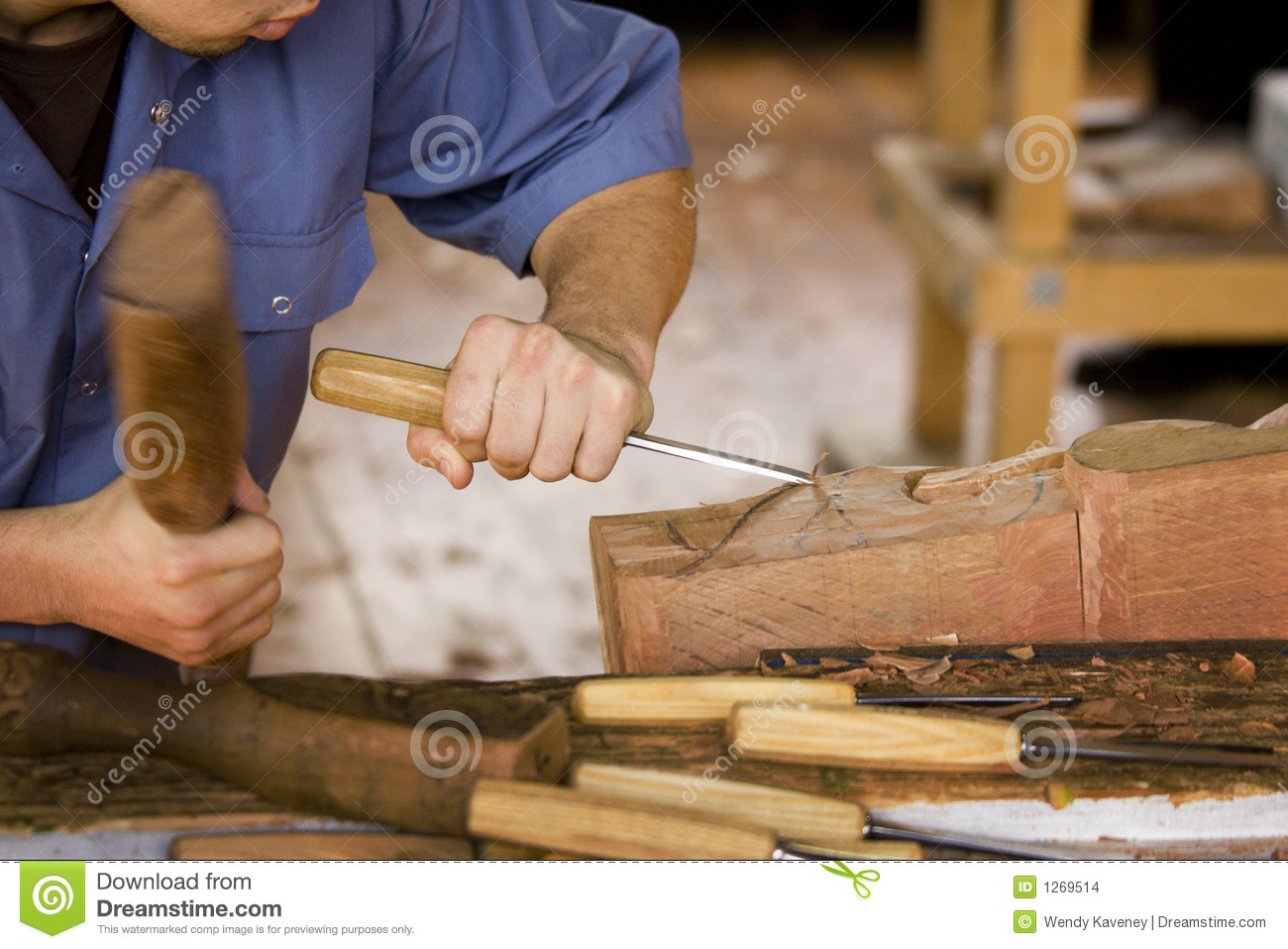 Smiling Woodworker Stock Photo Image 53703110