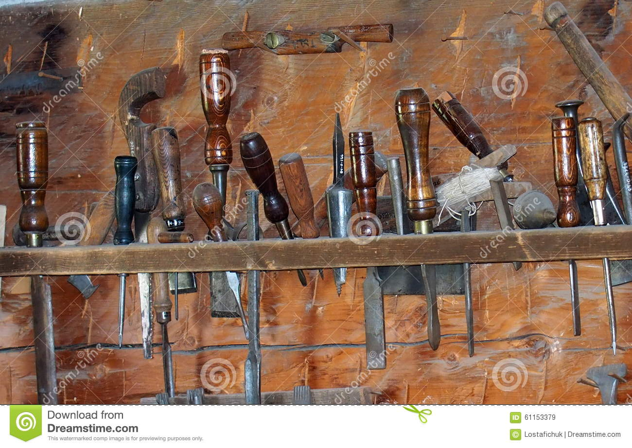 Wood working or carpenter 39 s tools stock photo image for Wooden work on wall