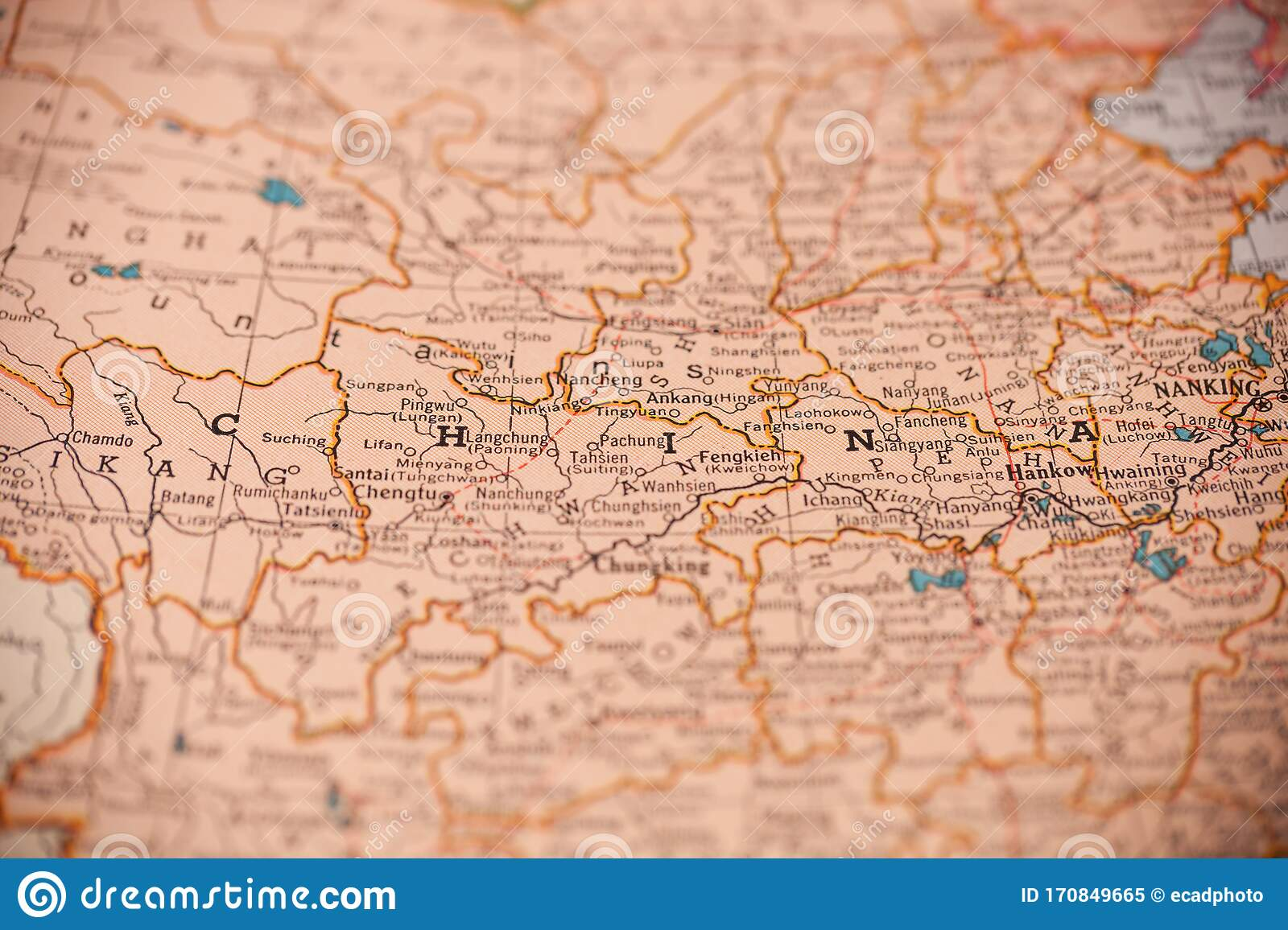 China Map In World Atlas Stock Image Image Of World 170849665