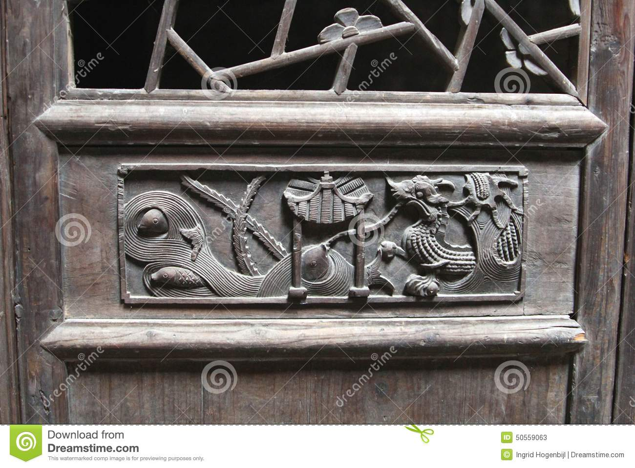 Woodcarving decorations with a dragon at an ancient timber for Ancient decoration