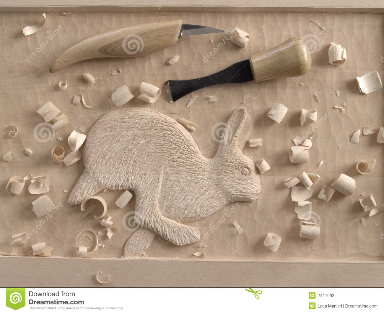 Woodcarving in relief stock photography image