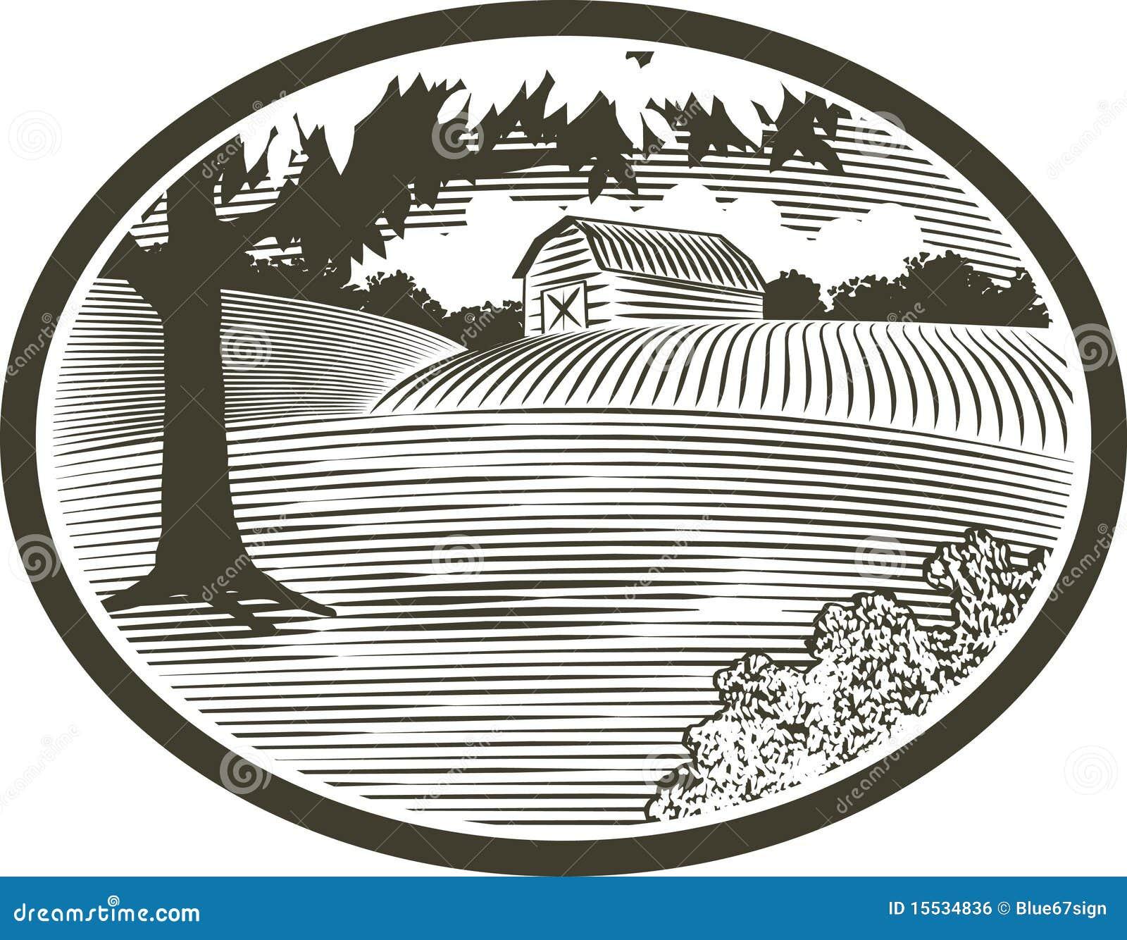 WoodCut com cena do celeiro