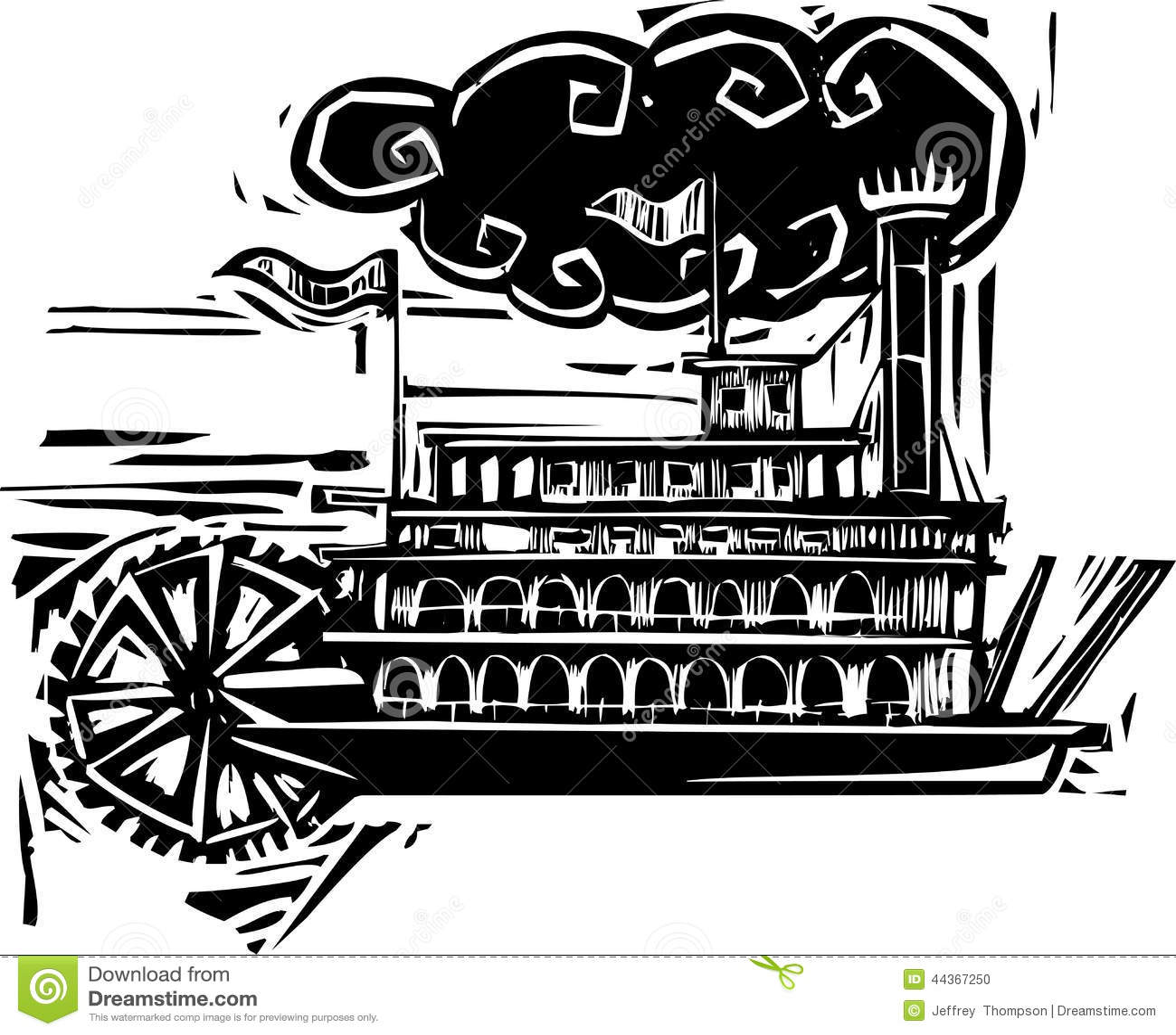 Woodcut Stern Wheel Riverboat Stock Vector - Image: 44367250