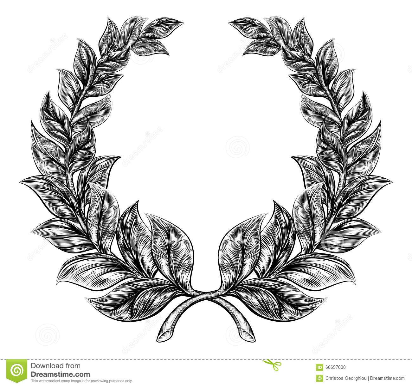 Woodcut Style Laurel Wreath Stock Vector Image 60657000