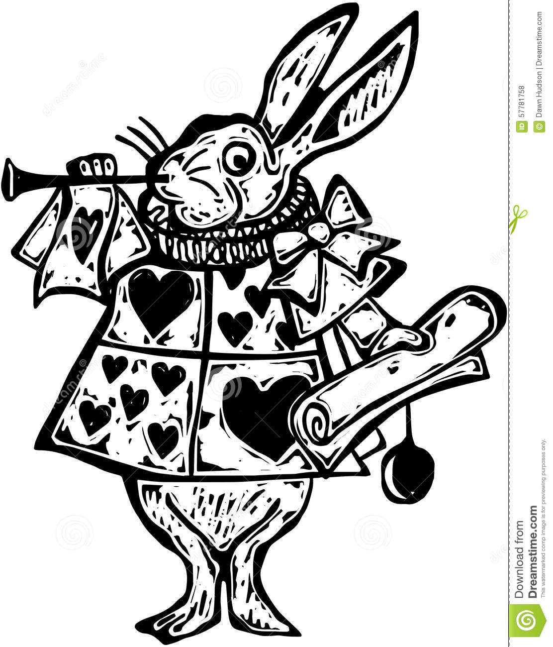 Woodcut White Rabbit Herald Stock Illustration Image