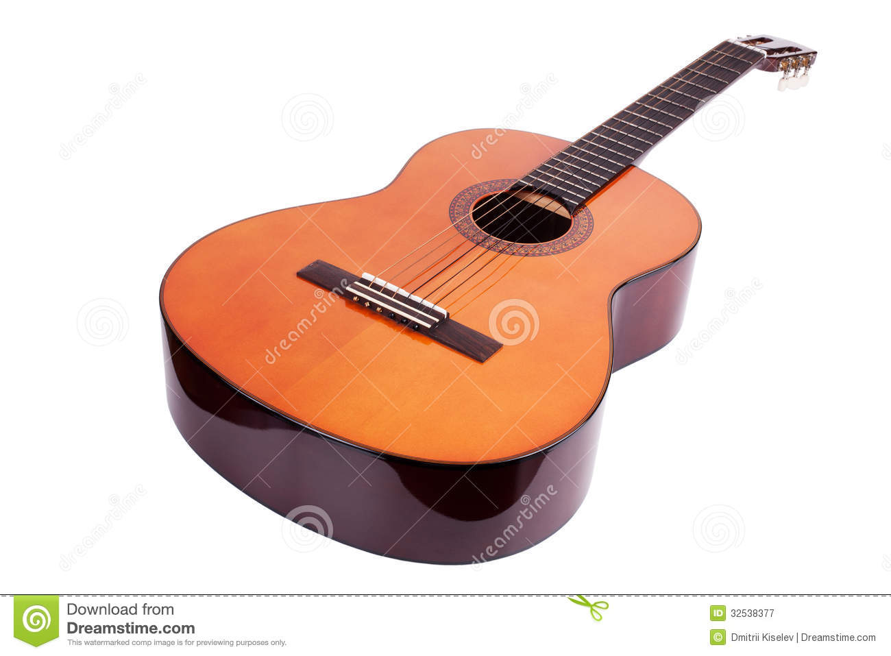 Wooden Acoustic Guitar On White Background Stock Image Image Of