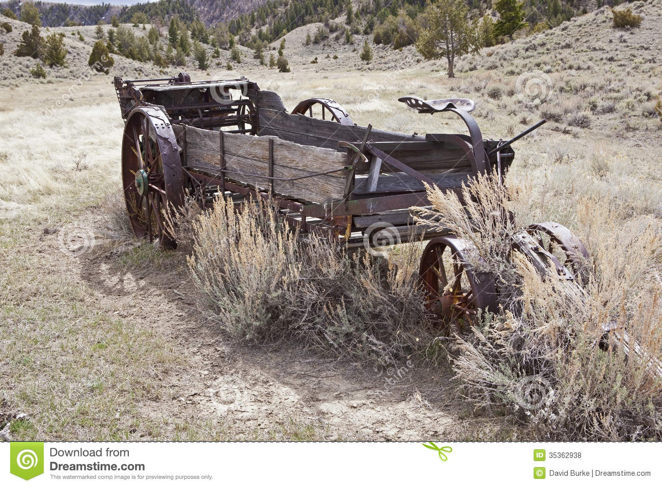 Wooden agriculture manure spreader stock photo image