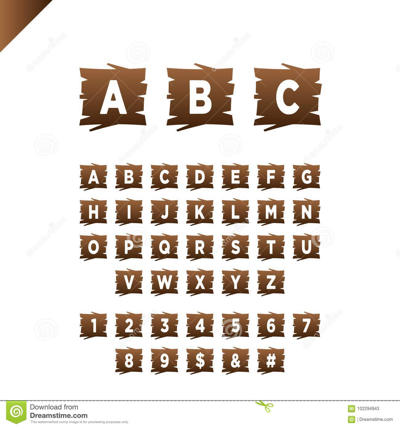 Wooden Alphabet Blocks With Letters And Numbers In Wood Texture Area