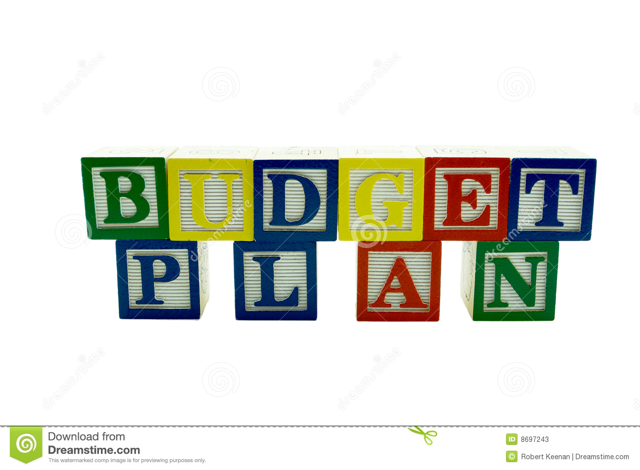 wooden alphabet blocks spelling budget plan stock image image of