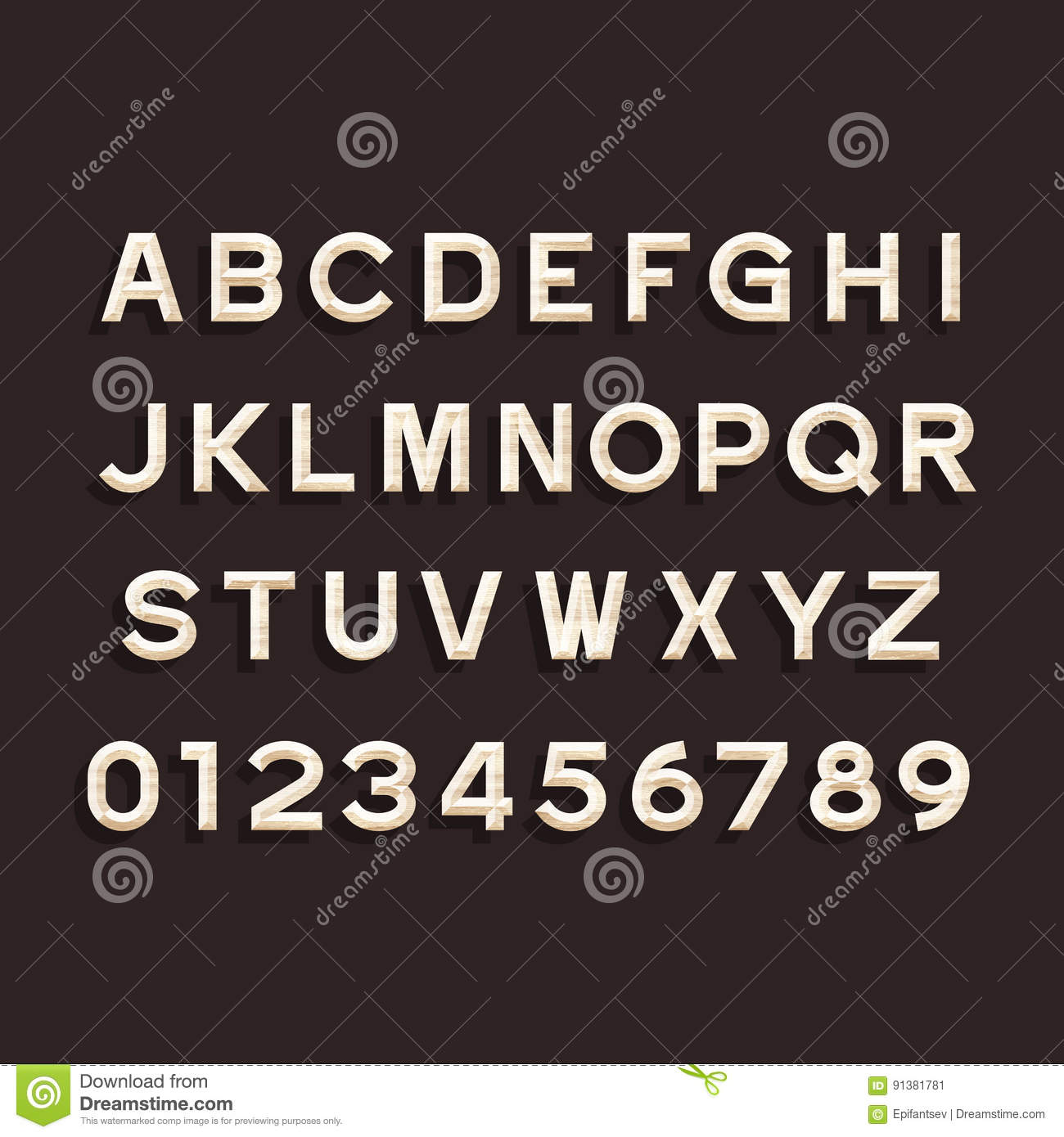 Wooden Alphabet Vector Font Type Letters And Numbers Stock Vector