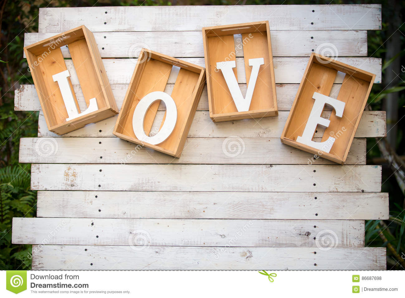 wooden alphabet word love in wooden box stock photo image of