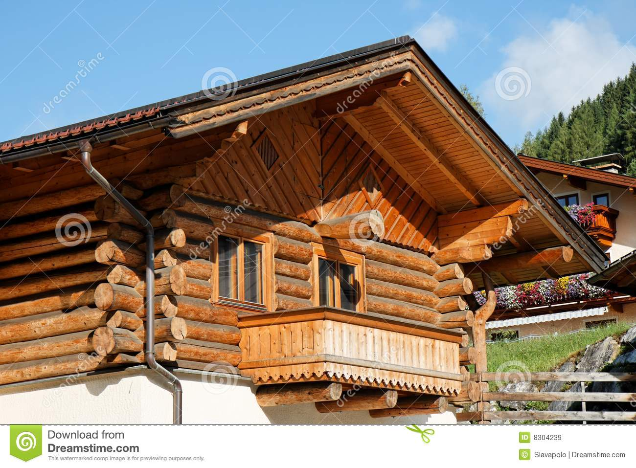Wooden alpine chalet house stock image image of mountain for Alpine house plans