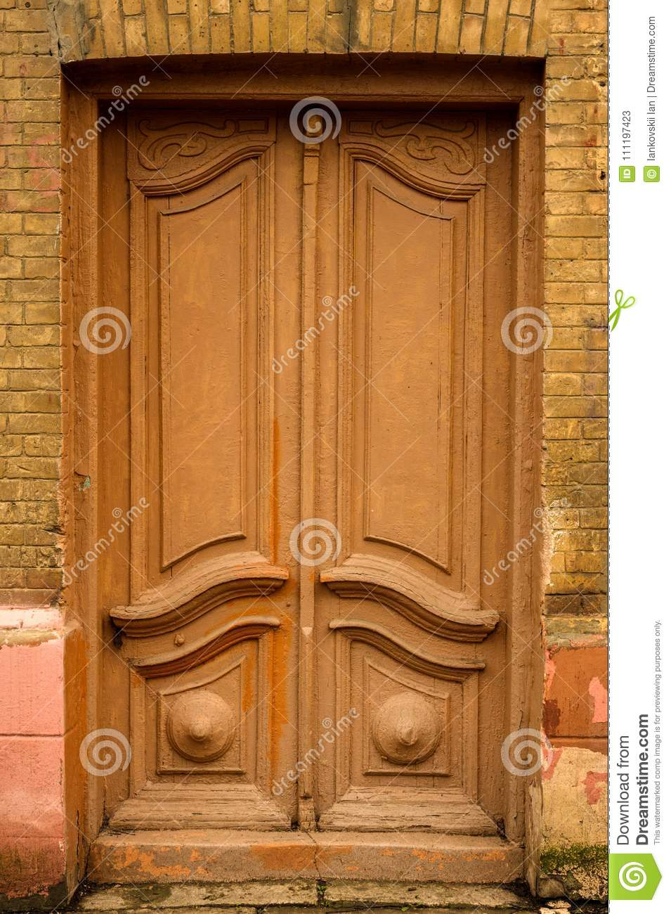 Download Wooden Ancient Italian Door In The Historic Center. Old European  Architecture. Two