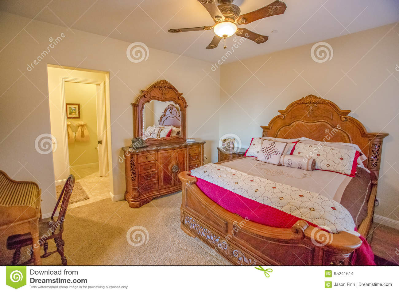 Wooden Antic Furniture Of San Diego Bedroom Stock Photo Image Of