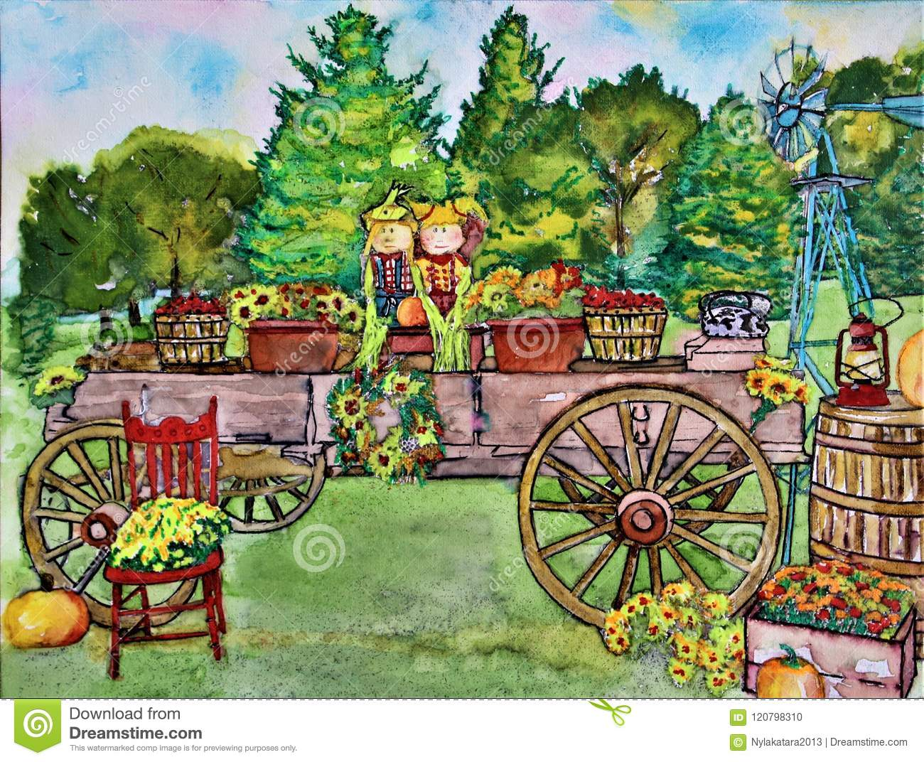 Watercolor Wagon Wooden Antique Decorated For Fall Stock