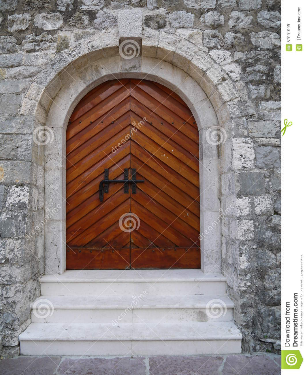 Medieval Front Doors: Wooden Arch Doors At Medieval Castle In Budva Stock Image