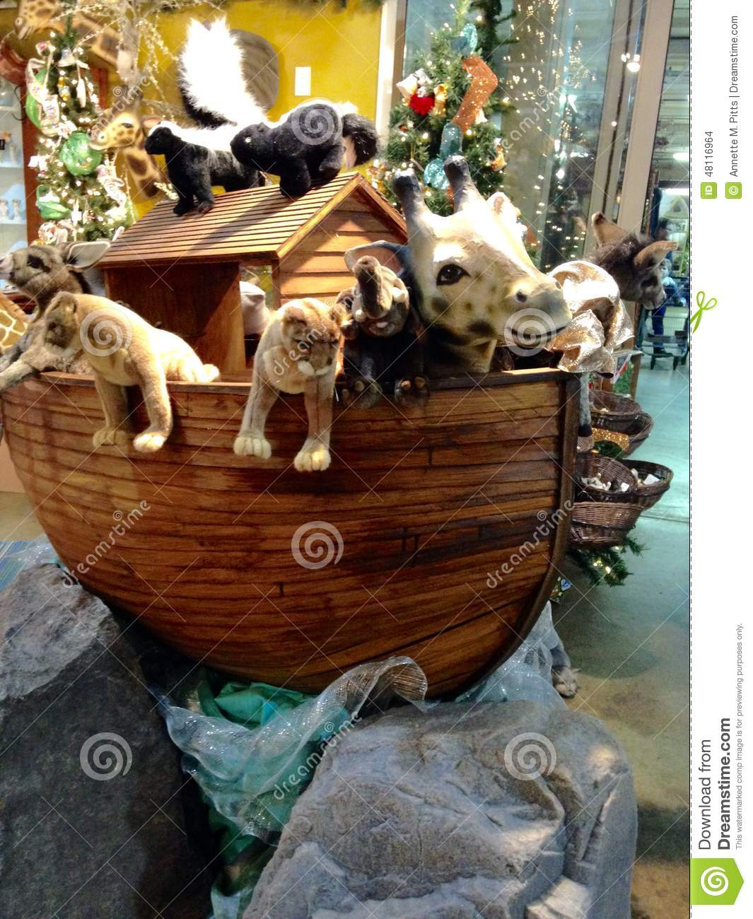 Wooden Ark With Stuffed Animals Stock Photo Image Of Wooden Noah