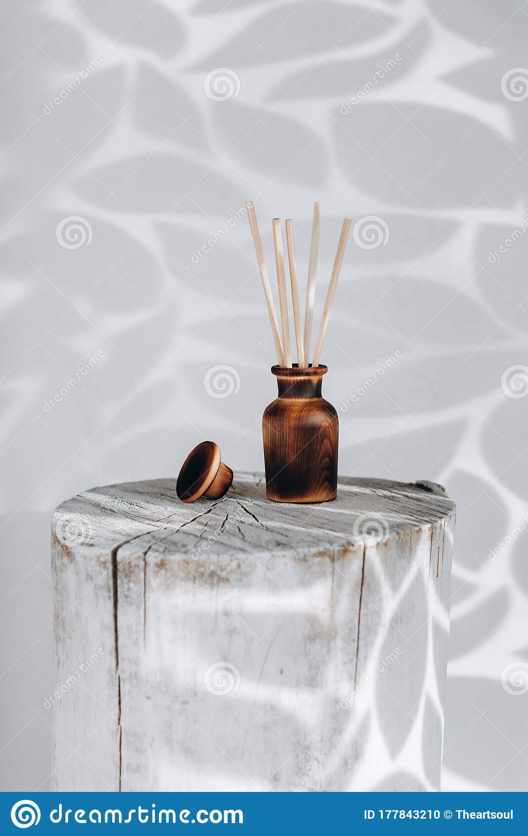 Wooden Aroma Diffuser With Sticks On A Hemp On A White Background Stock Photo Image Of Care Decoration 177843210