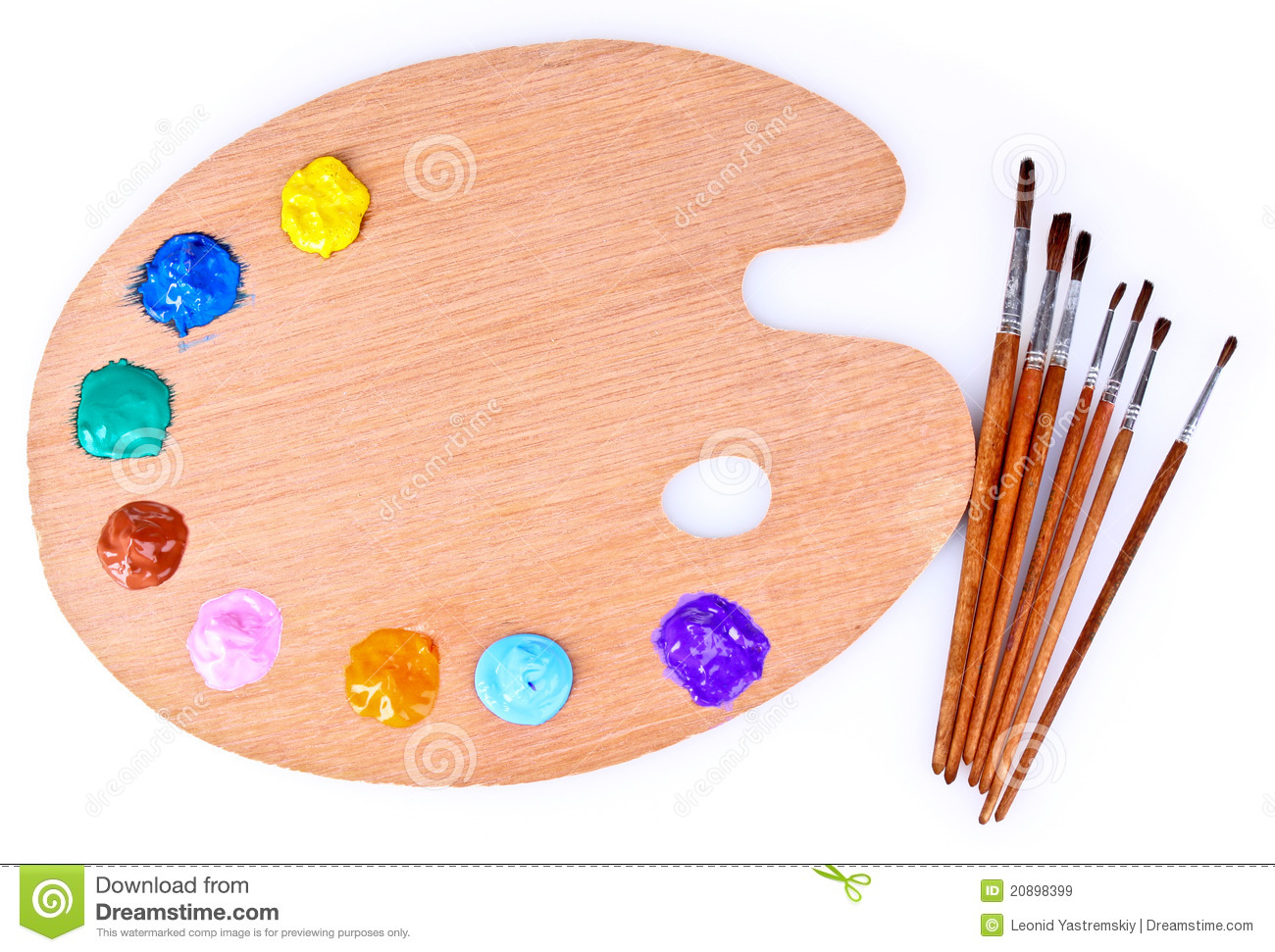 Wooden art palette of paint and brush royalty free stock for Peinture sur bois