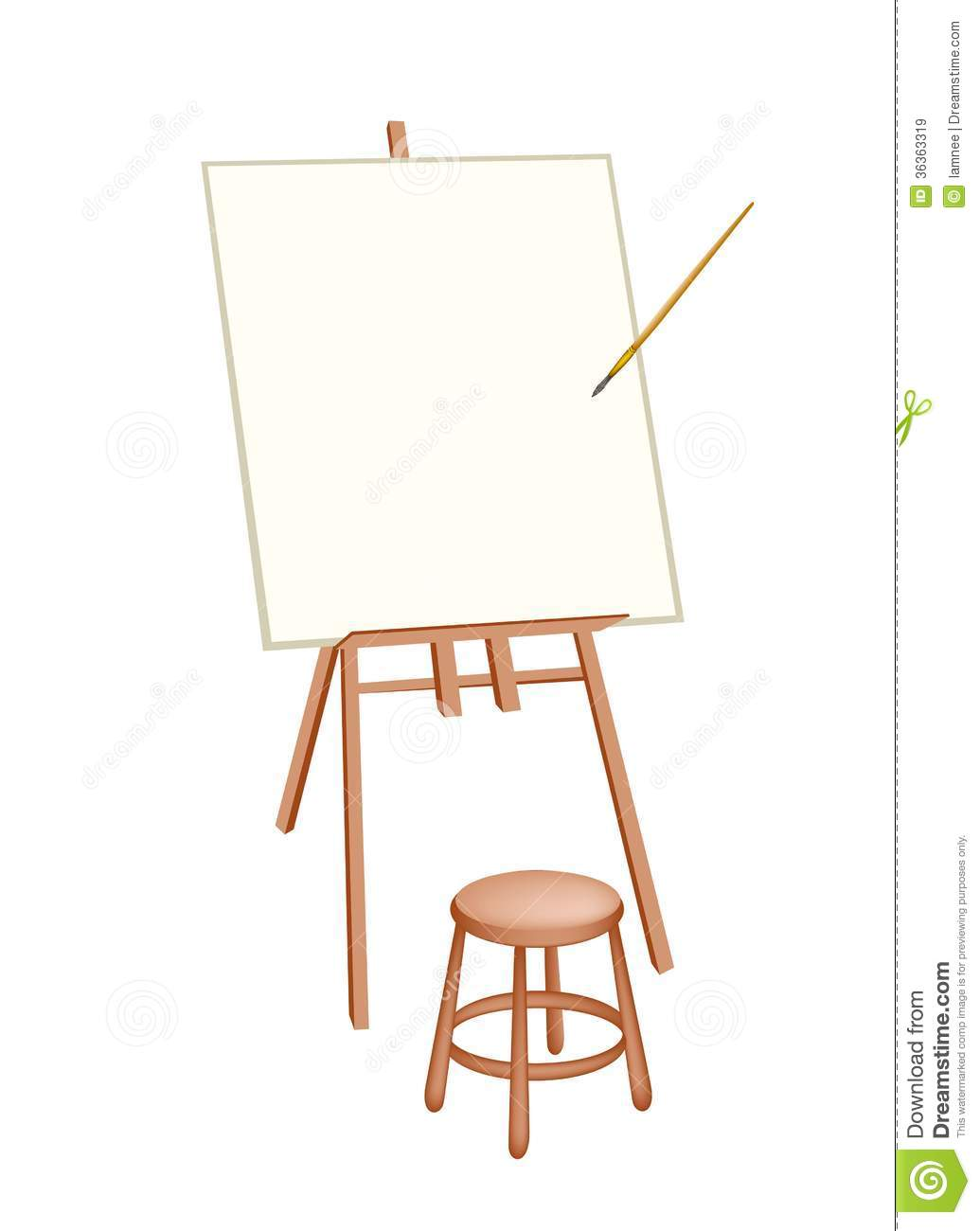 wooden artist easel on white background stock image