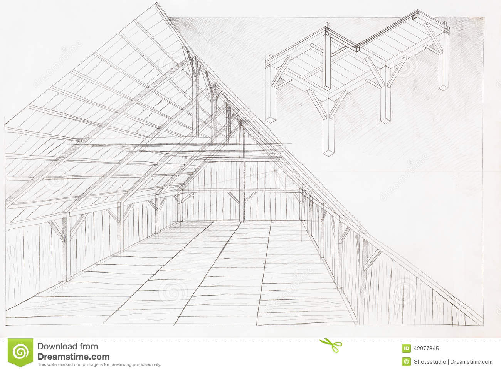Wooden Attic Architectural Sketch Stock Illustration