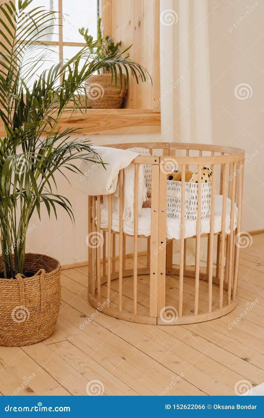 Wooden Baby Bed Crib In Eco Friendly Cozy Interior Stock Photo Image Of Interior Cradle 152622066
