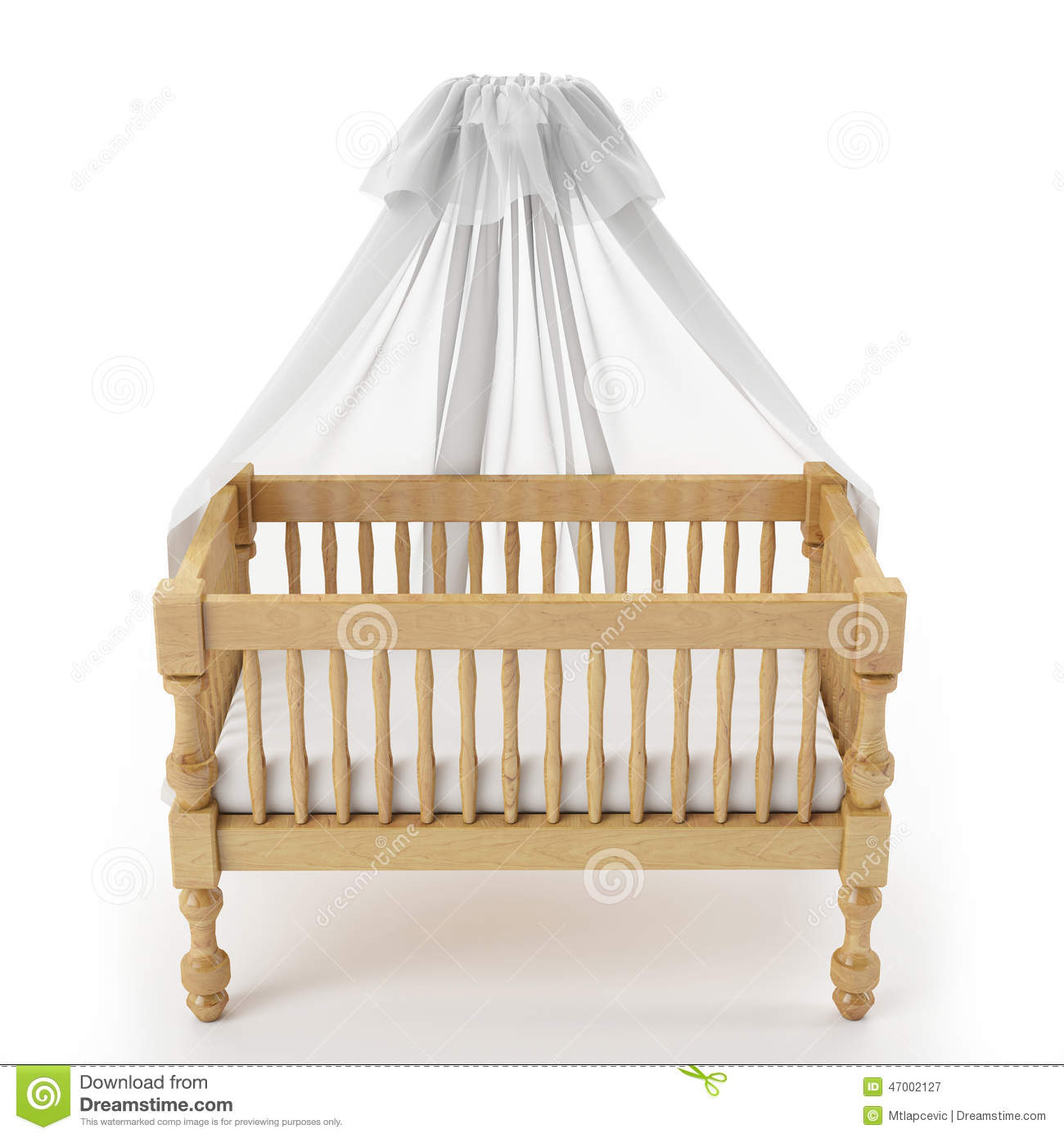 Baby cribs with canopy - Wooden Baby Crib With Canopy Isolated On White Background