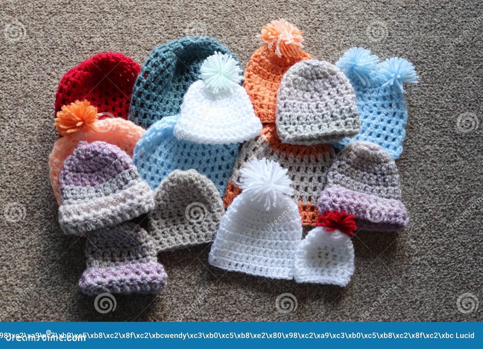 Premature Baby Boys Girls Hand Knitted Pom Pom Hats