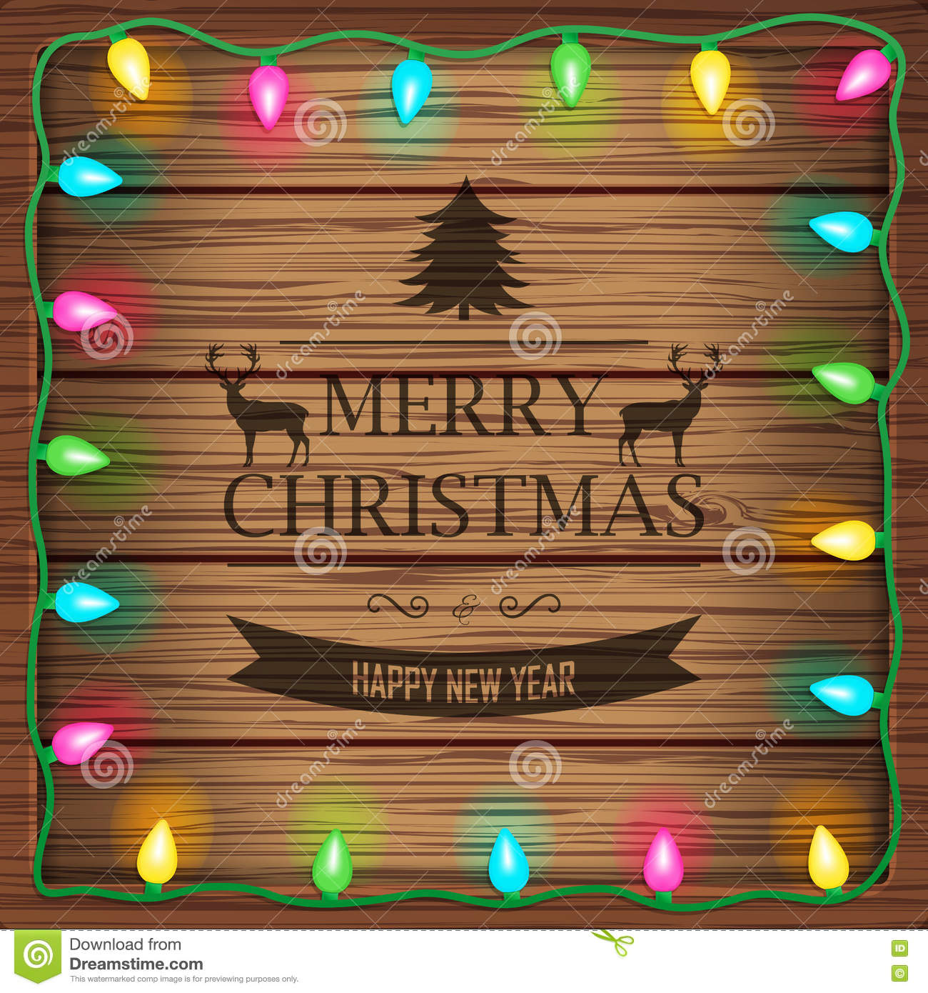 wooden background with christmas lights and vintage typography sign merry christmas and happy new year wishes vector illustration