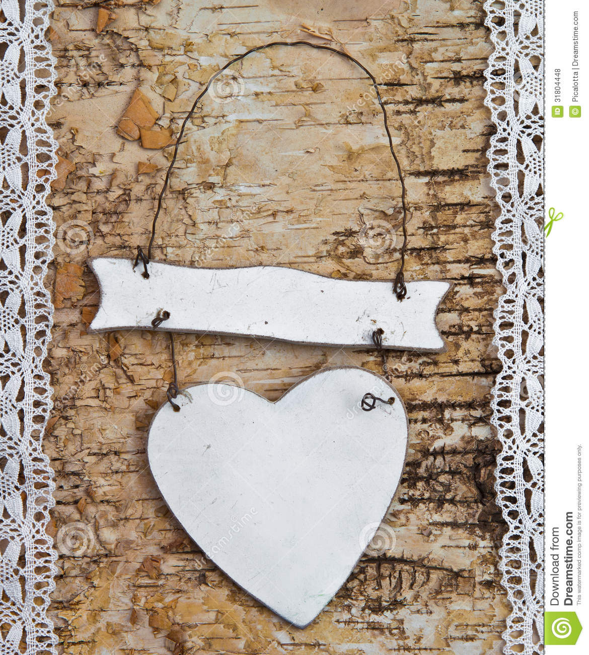 Wooden Background With Lace Stock Photo
