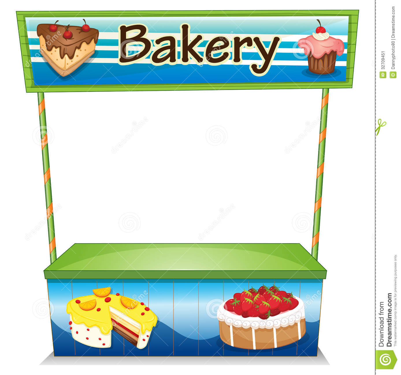 A Wooden Bakery Stall Stock Vector Illustration Of