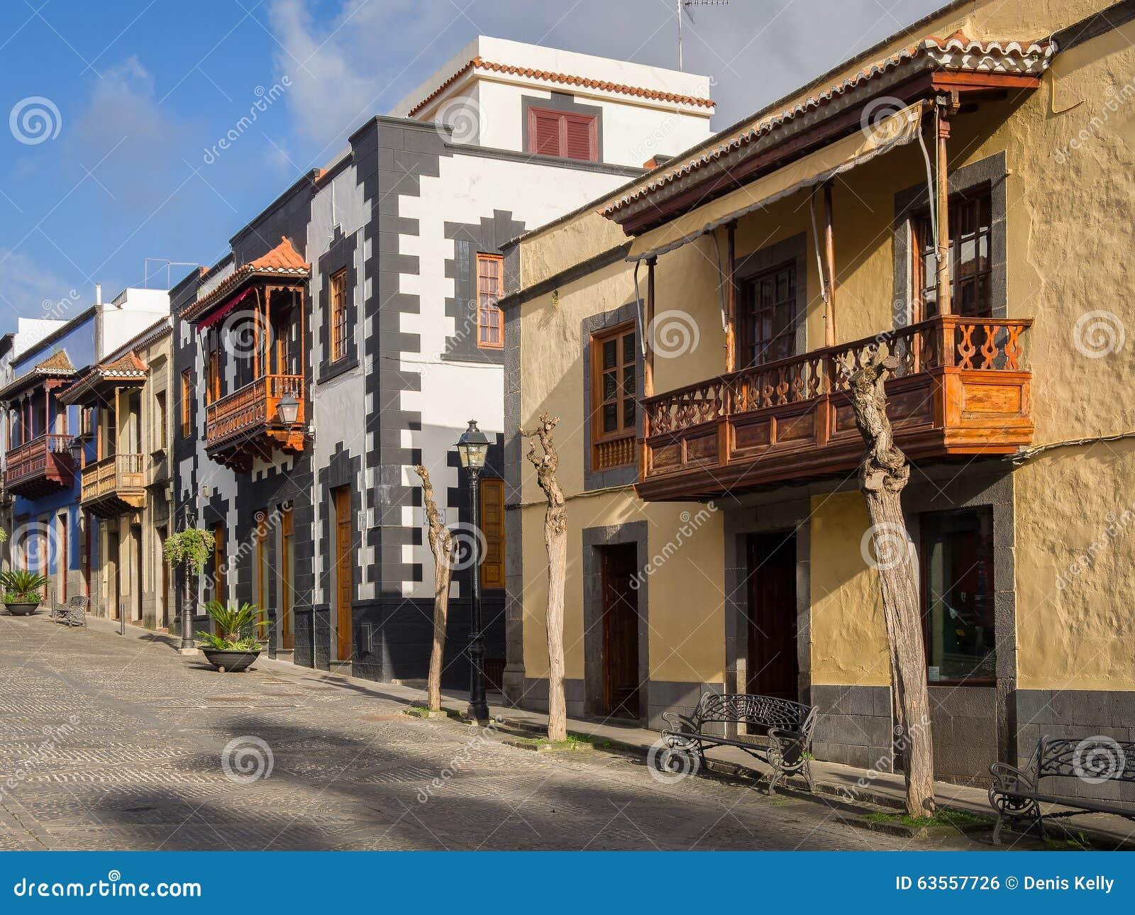 Wooden balconies in gran canaria spain stock photo - Balcones de madera ...