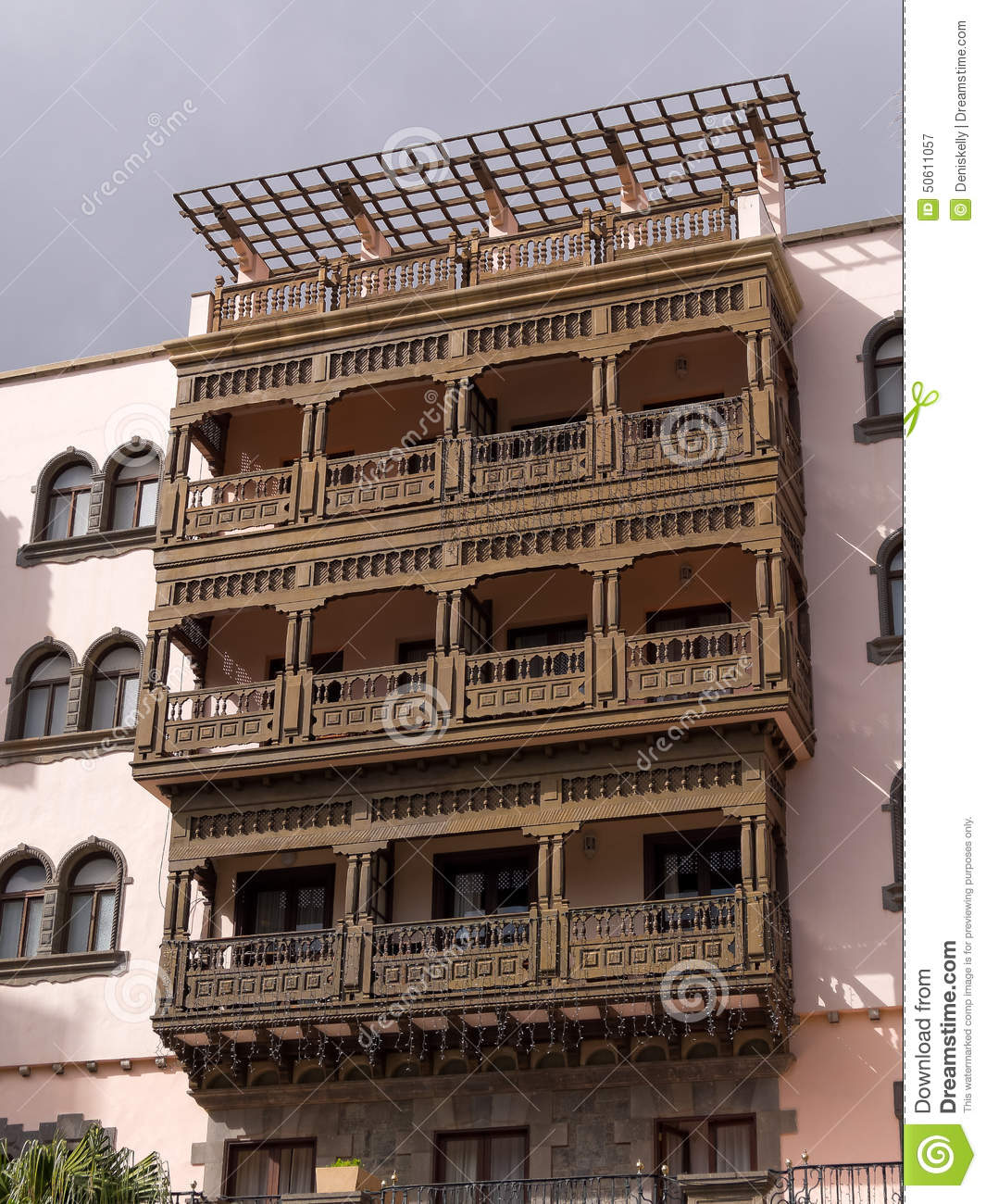 Wooden balcony in gran canaria spain stock image image for Balcony in spanish